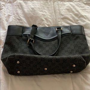 272398 Gucci Crest Logo GG Canvas Leather Tote